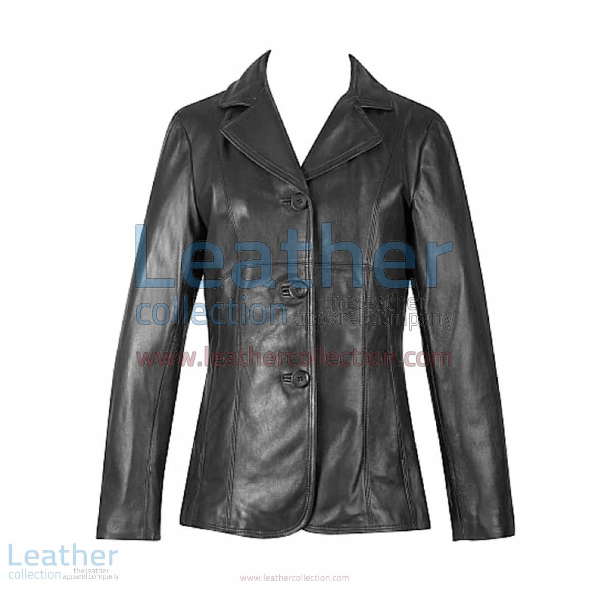 3 Button Lambskin Blazer | lambskin blazer