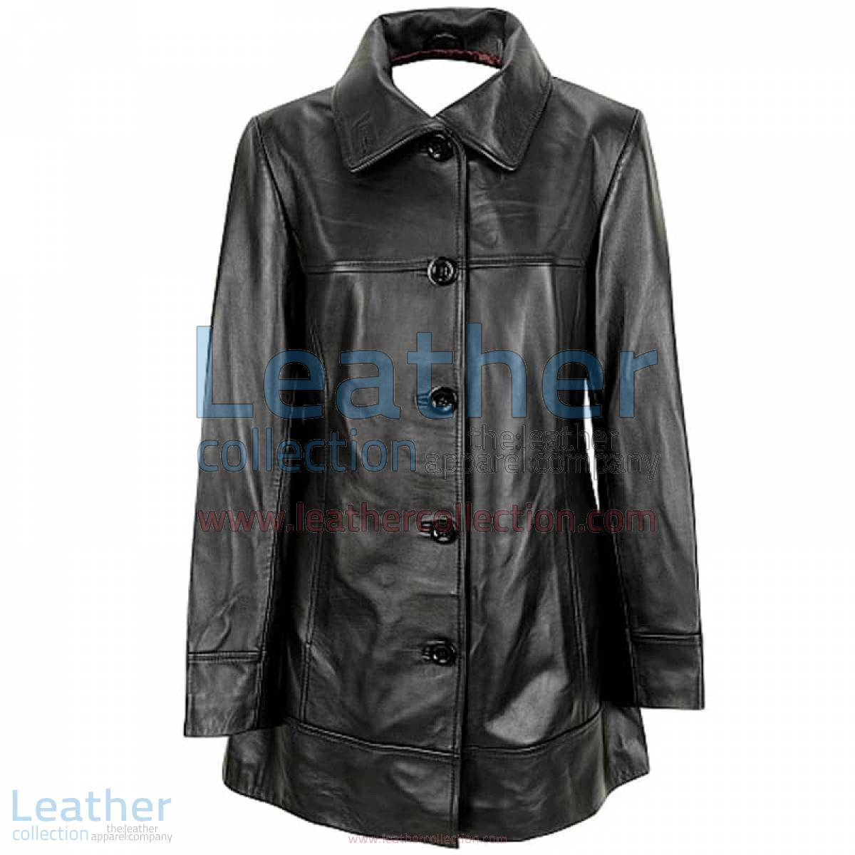 6 Button Leather Coat | button coat