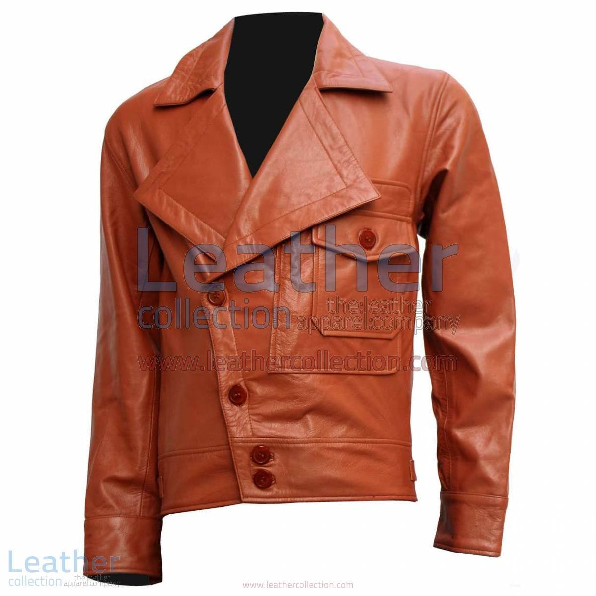Aviator Movie Tan Biker Leather Jacket   aviator leather jacket