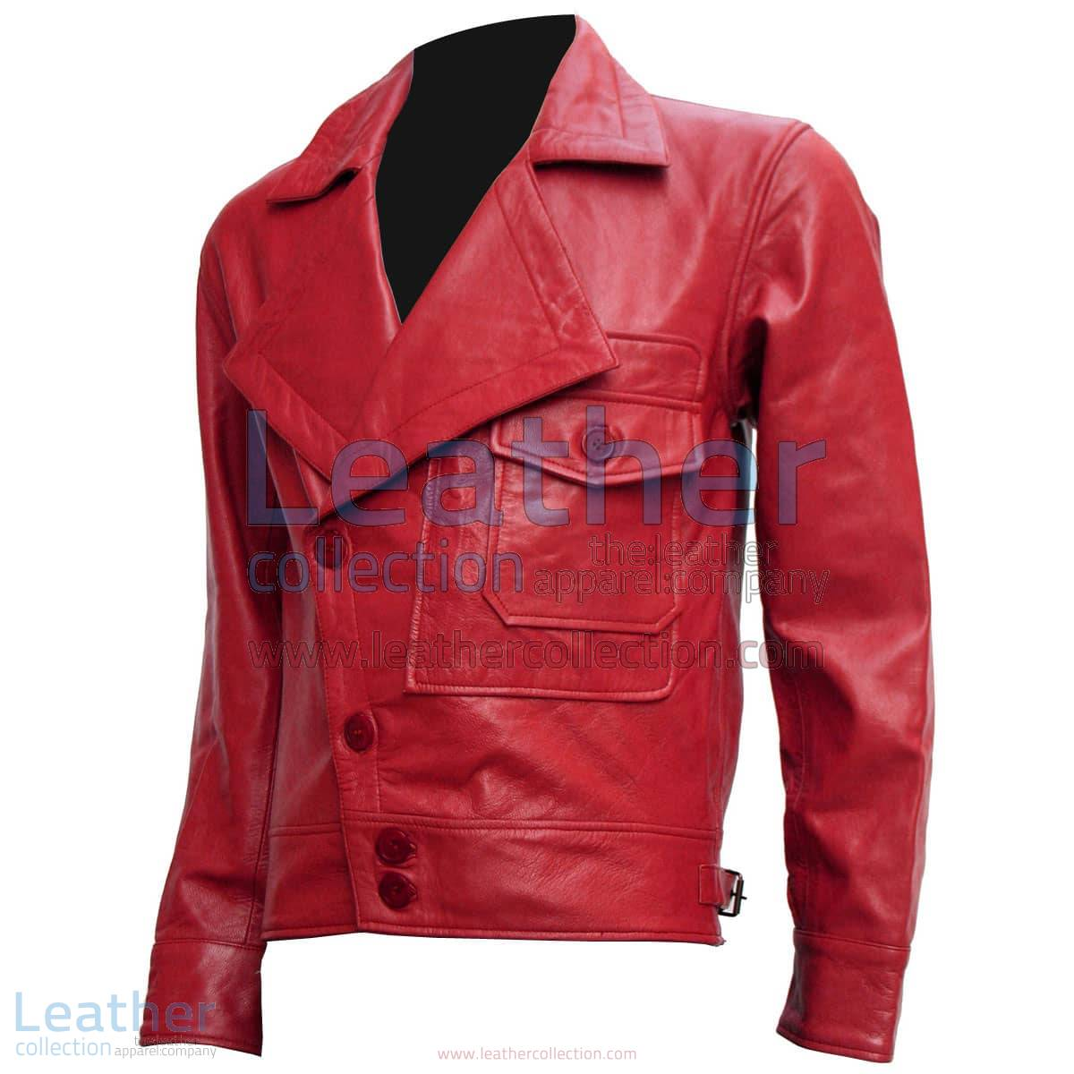 Aviator Red Biker Leather Jacket   aviator leather jacket