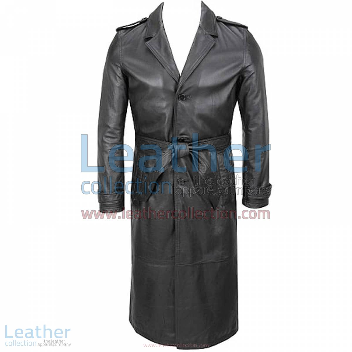 Belted Classic Leather Long Trench Coat | leather trench coat