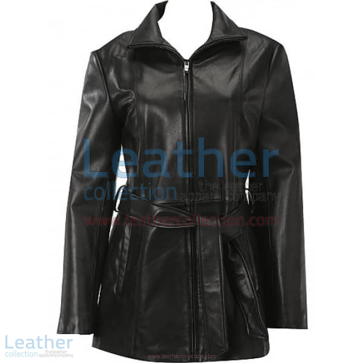 Belted Front Zipper Leather Fashion Coat | leather coat