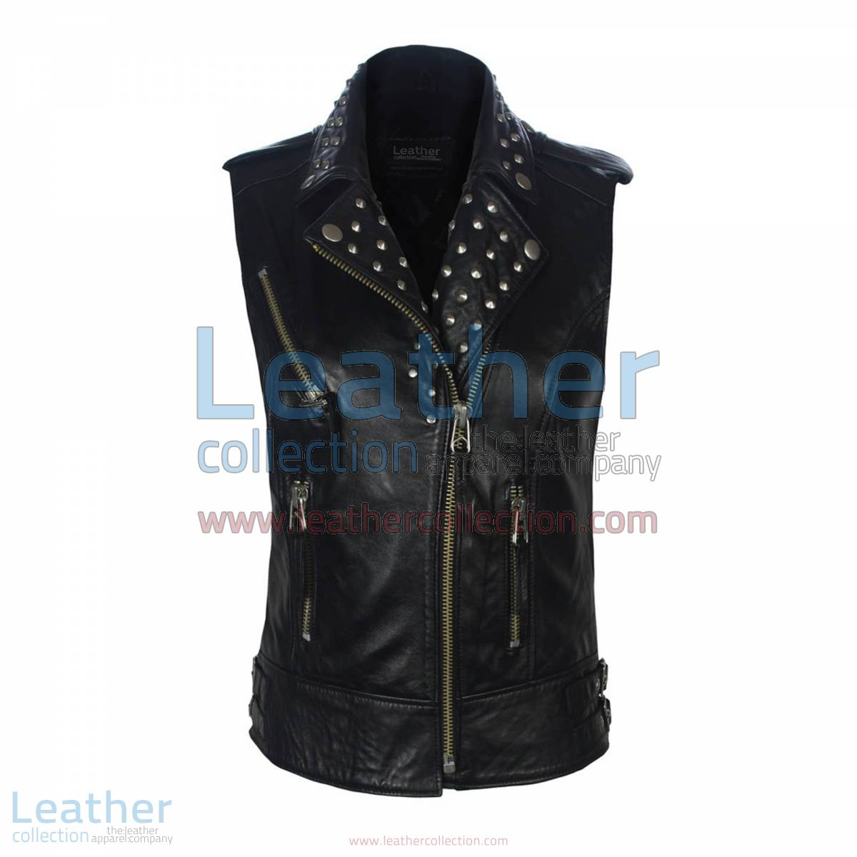Biker Ladies Leather Studded Collar Vest | leather studded vest