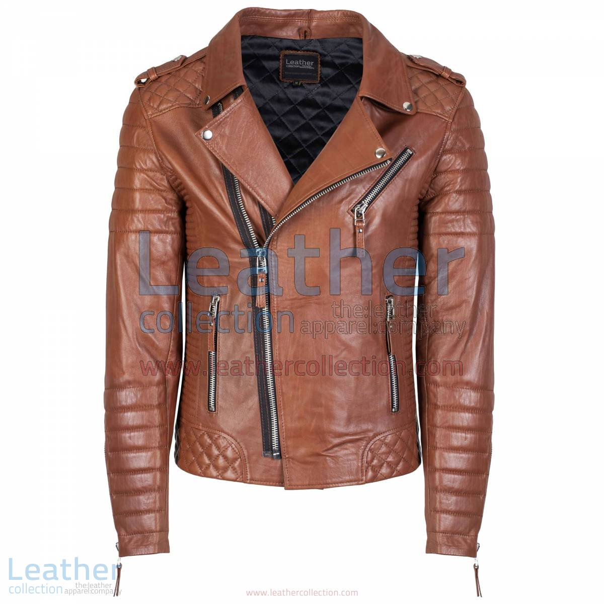 Biker Men Quilted Leather Jacket Antique Brown | men quilted leather jacket