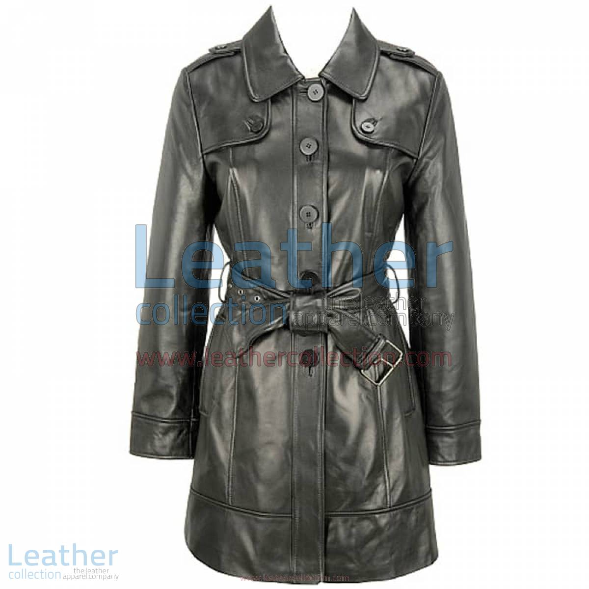 Black Lamb Belted Trench Coat with Thinsulate Lining | belted trench coat