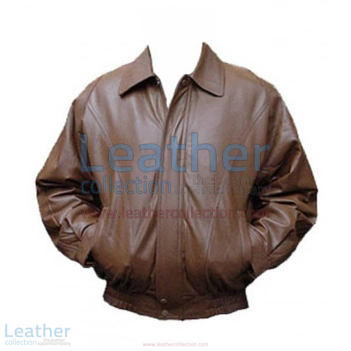 Classic Brown Bomber Leather Jacket | brown bomber leather jacket