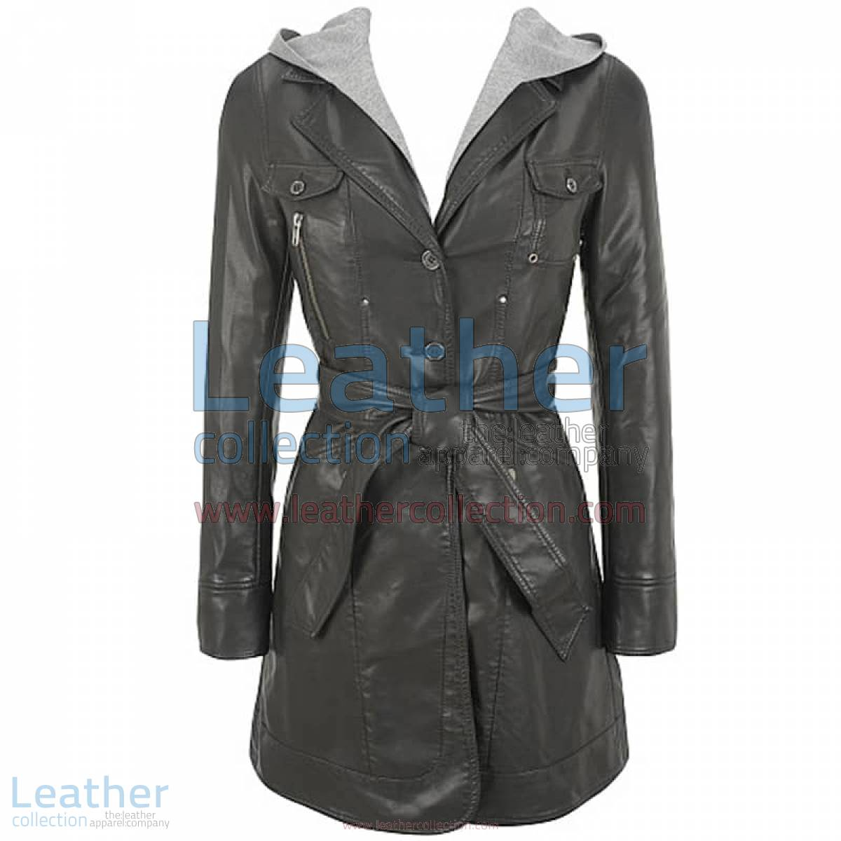 Hooded Leather 3/4 Length Coat Womens | hooded leather coat