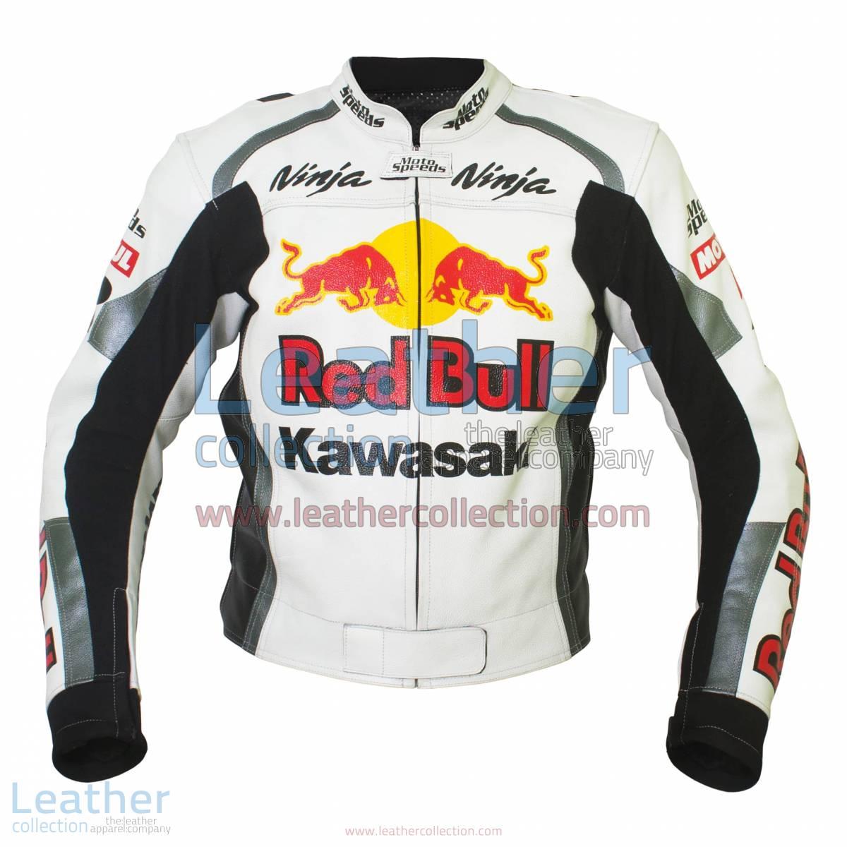Kawasaki Ninja Red Bull Motorbike Leather Jacket | Red Bull jacket