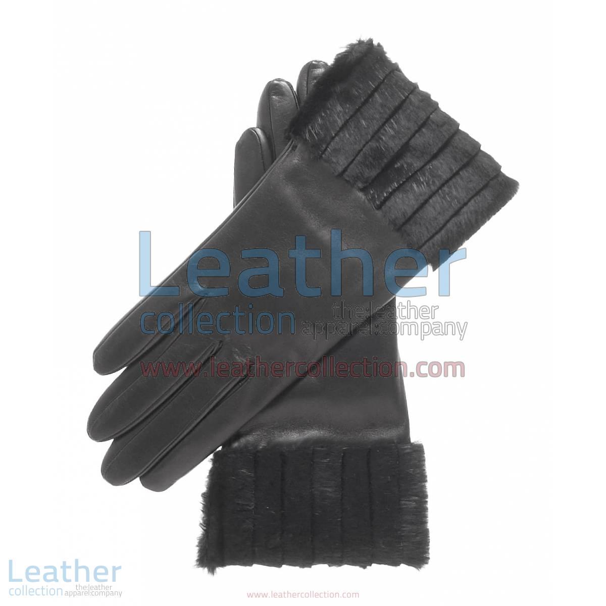 Ladies Fashion Black Fur Cuff Gloves | fur cuff gloves