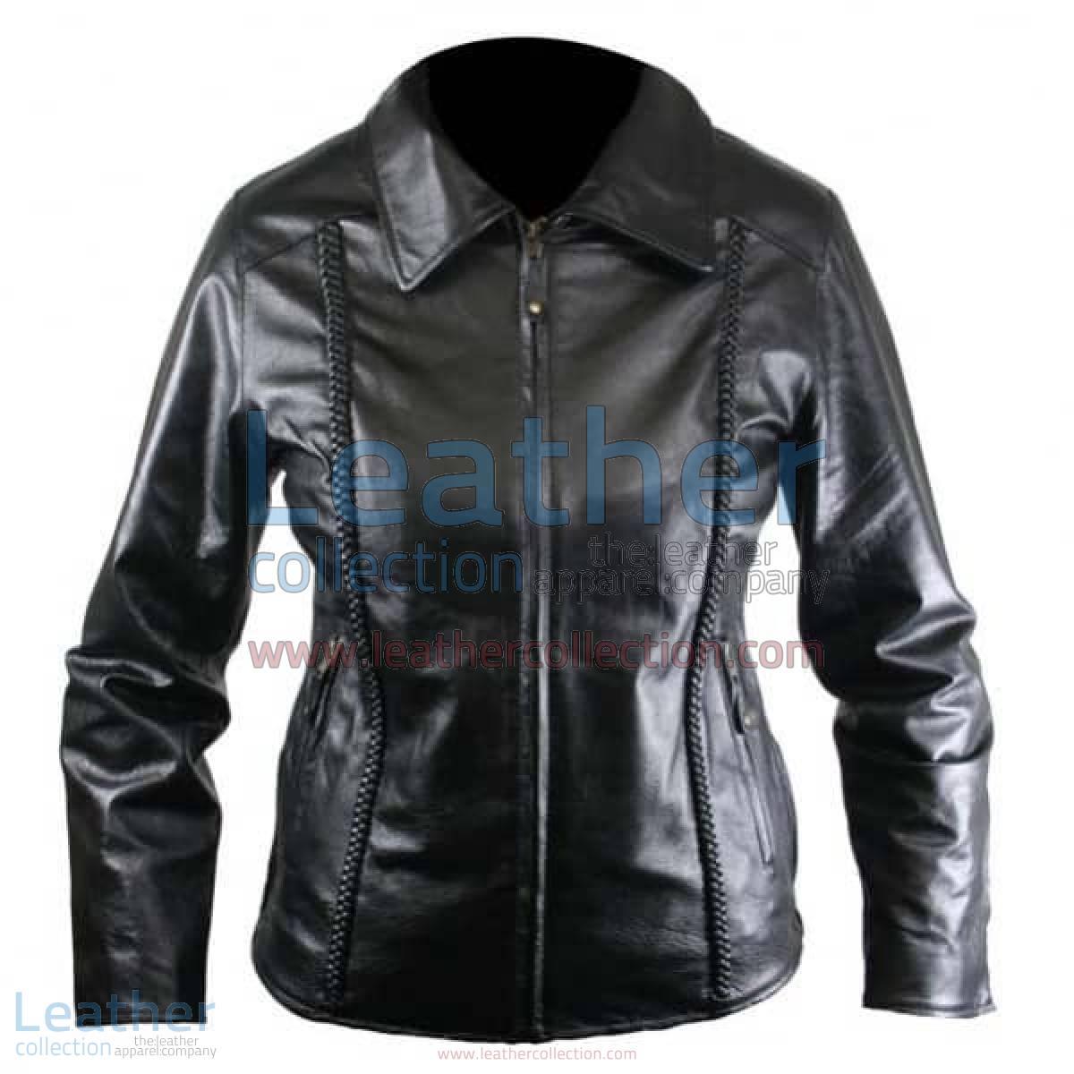 Ladies Front Braided Leather Jacket | braided leatherjacket