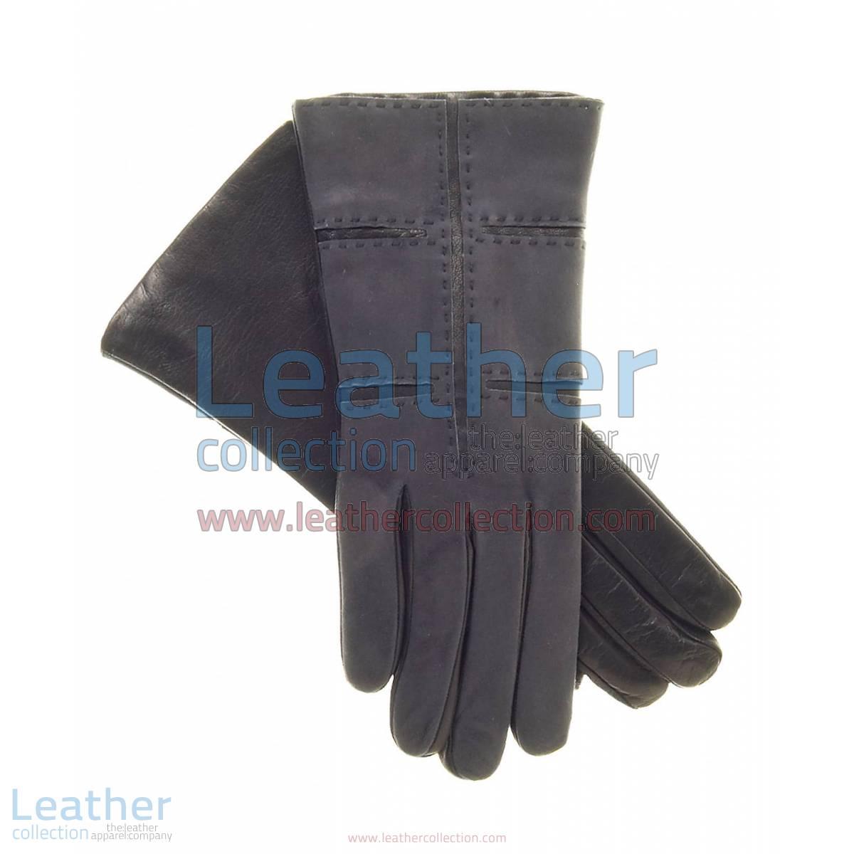 Ladies Grey Suede and Lamb Leather Gloves | suede gloves ladies