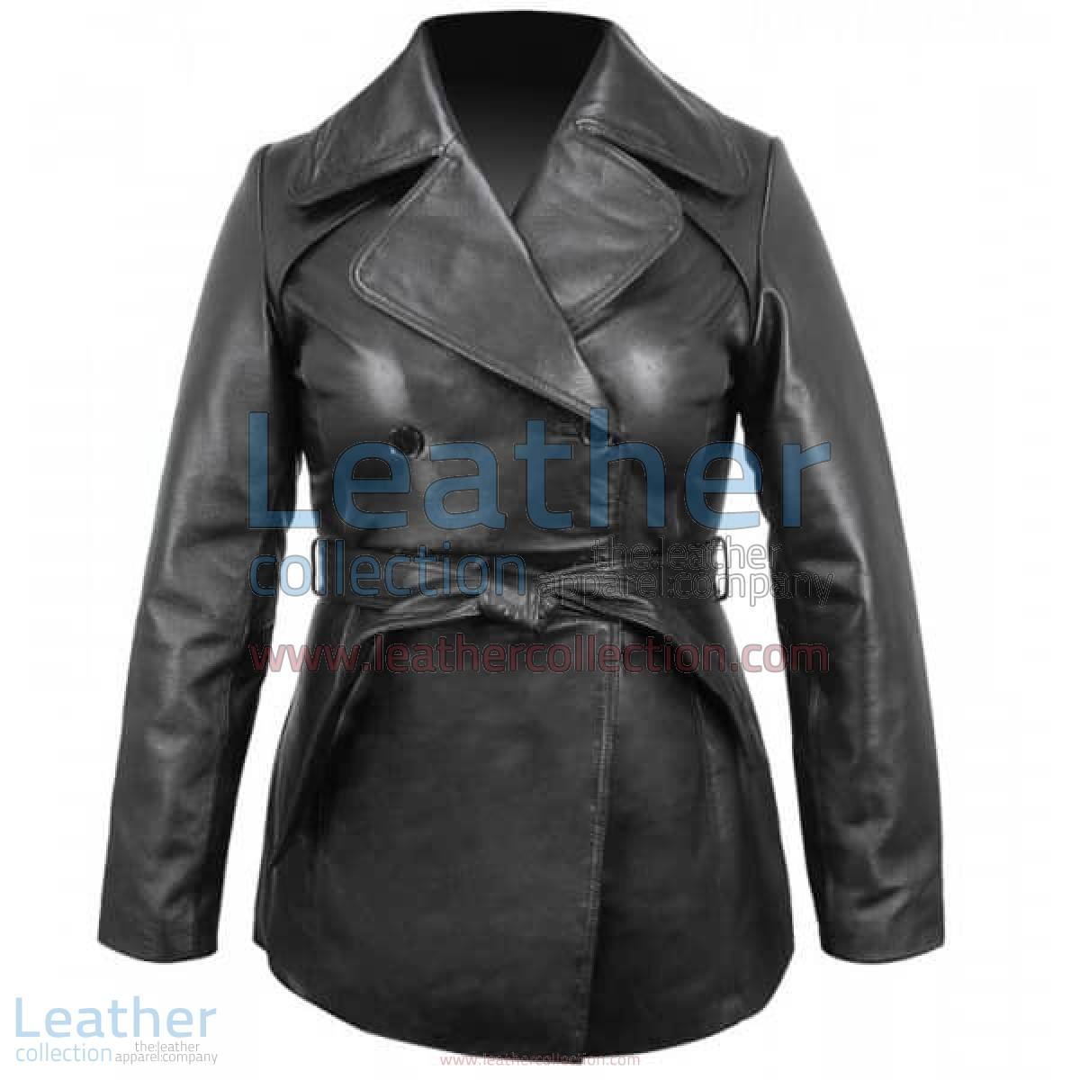 Ladies Leather Belted Pea Coat | leather pea coat