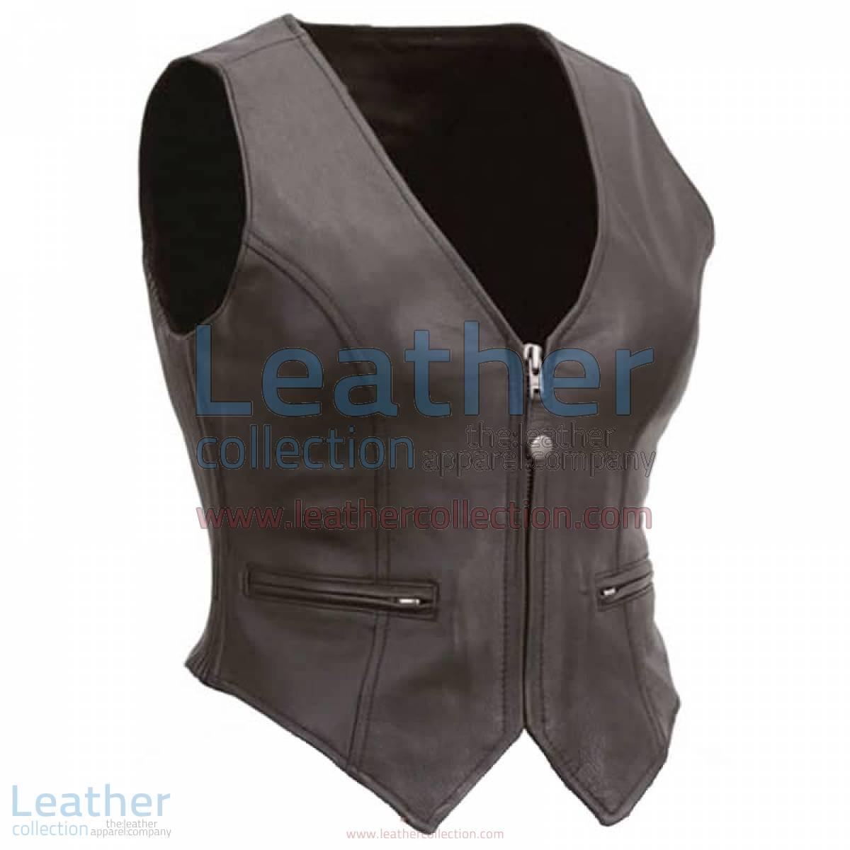 Ladies Motorcycle Leather Zipper Vest | leather zipper vest
