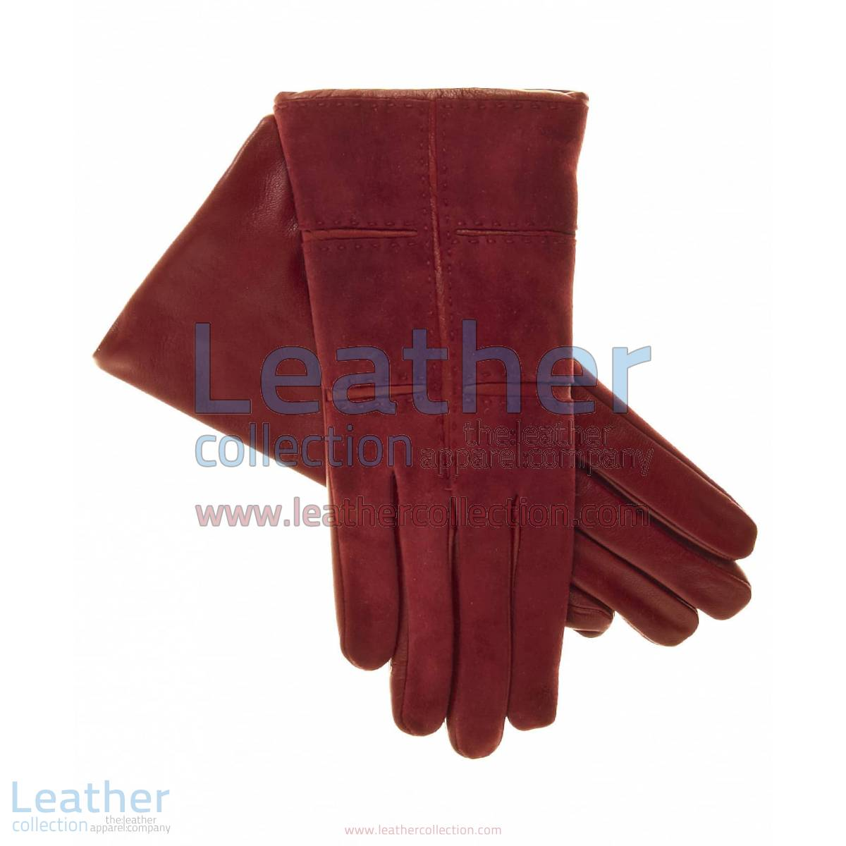 Ladies Red Suede Gloves with Lambskin Palms and Inserts | red suede gloves