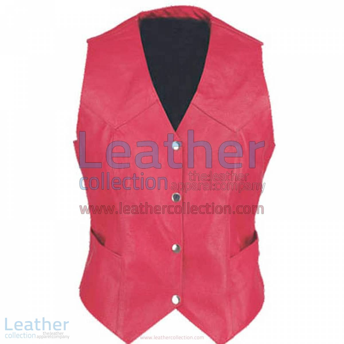 Ladies Vintage Red Fashion Leather Vest | red leather vest