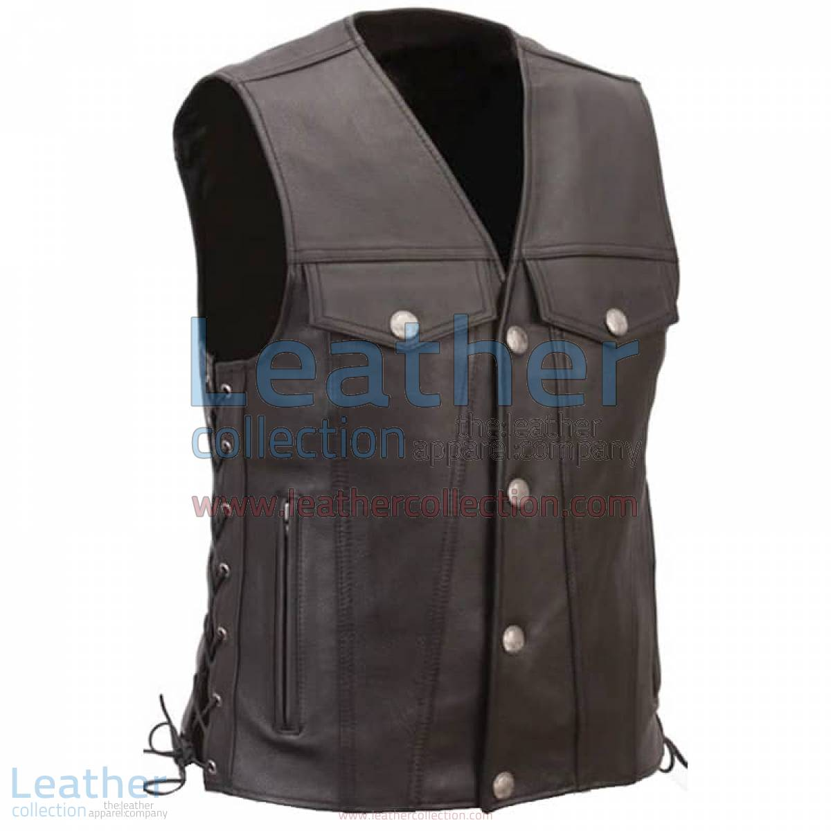 Leather Motorcycle Vest with Buffalo Nickel Snaps | motorcycle vest