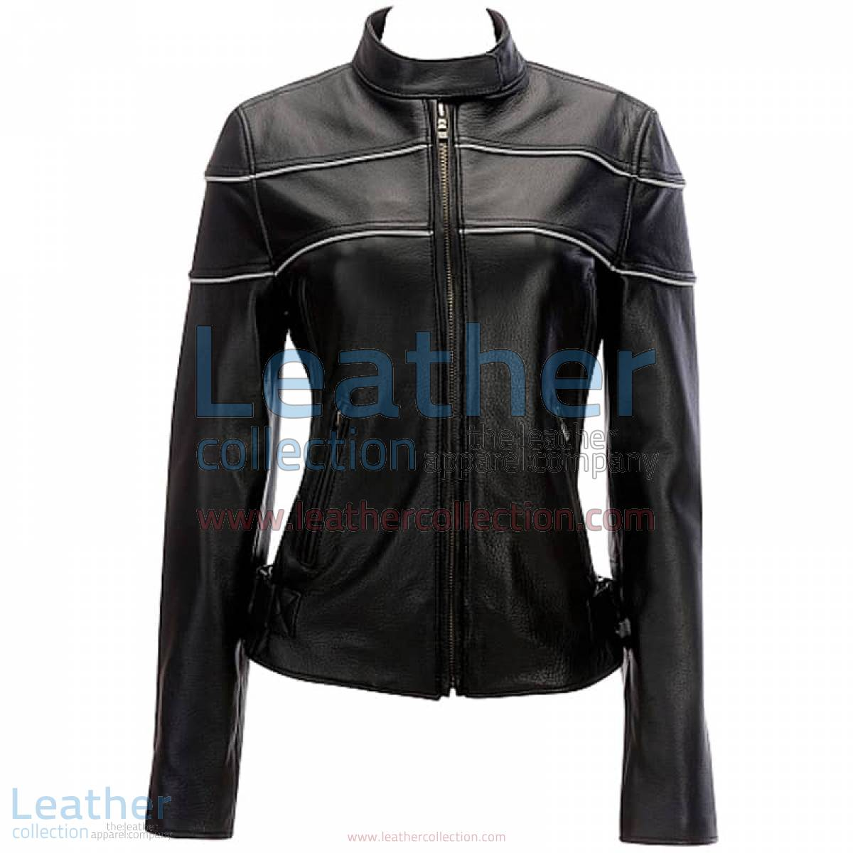 Leather Reflective Piping Jacket Black | piping jacket