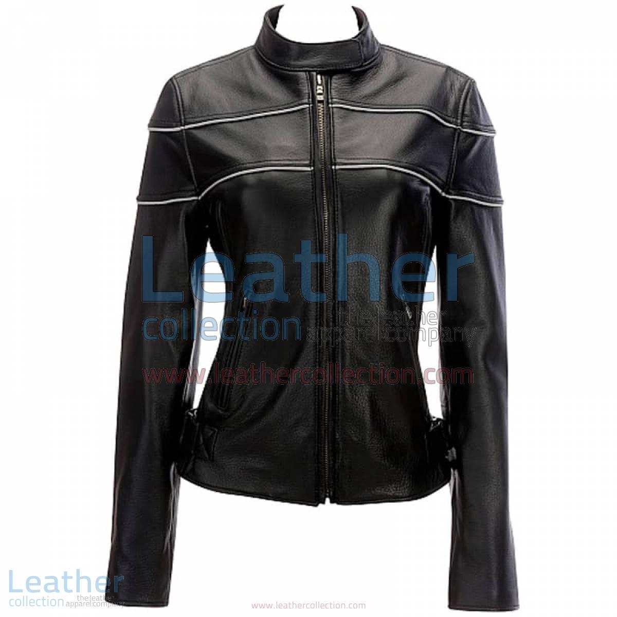 Leather Reflective Piping Jacket Black | piping jacket