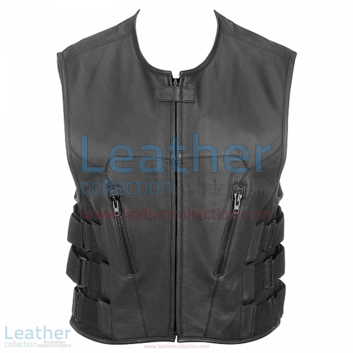 Leather Rider Vest with Velcro Side Straps   rider vest