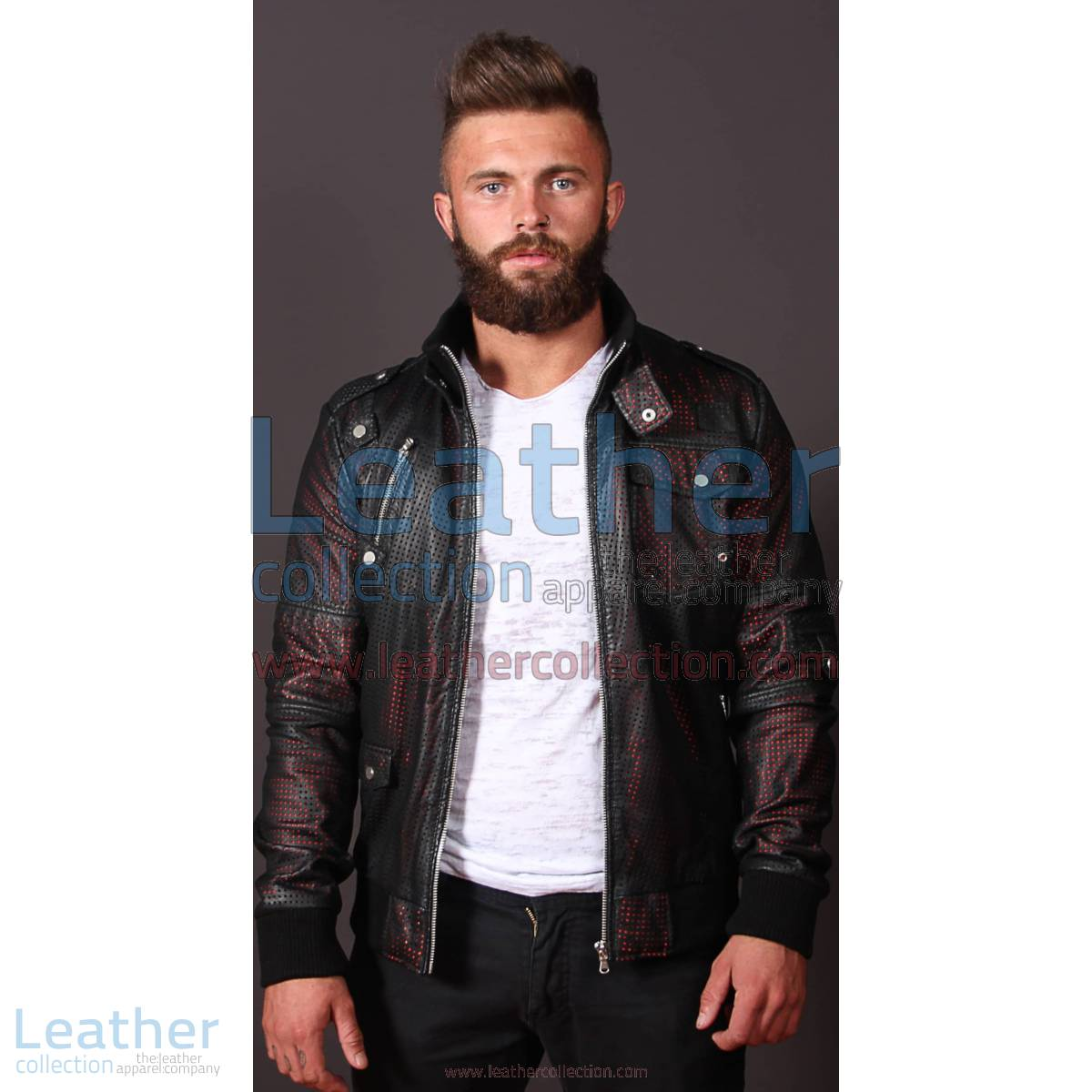 Men Devil Perforated Bomber Jacket | perforated bomber jacket