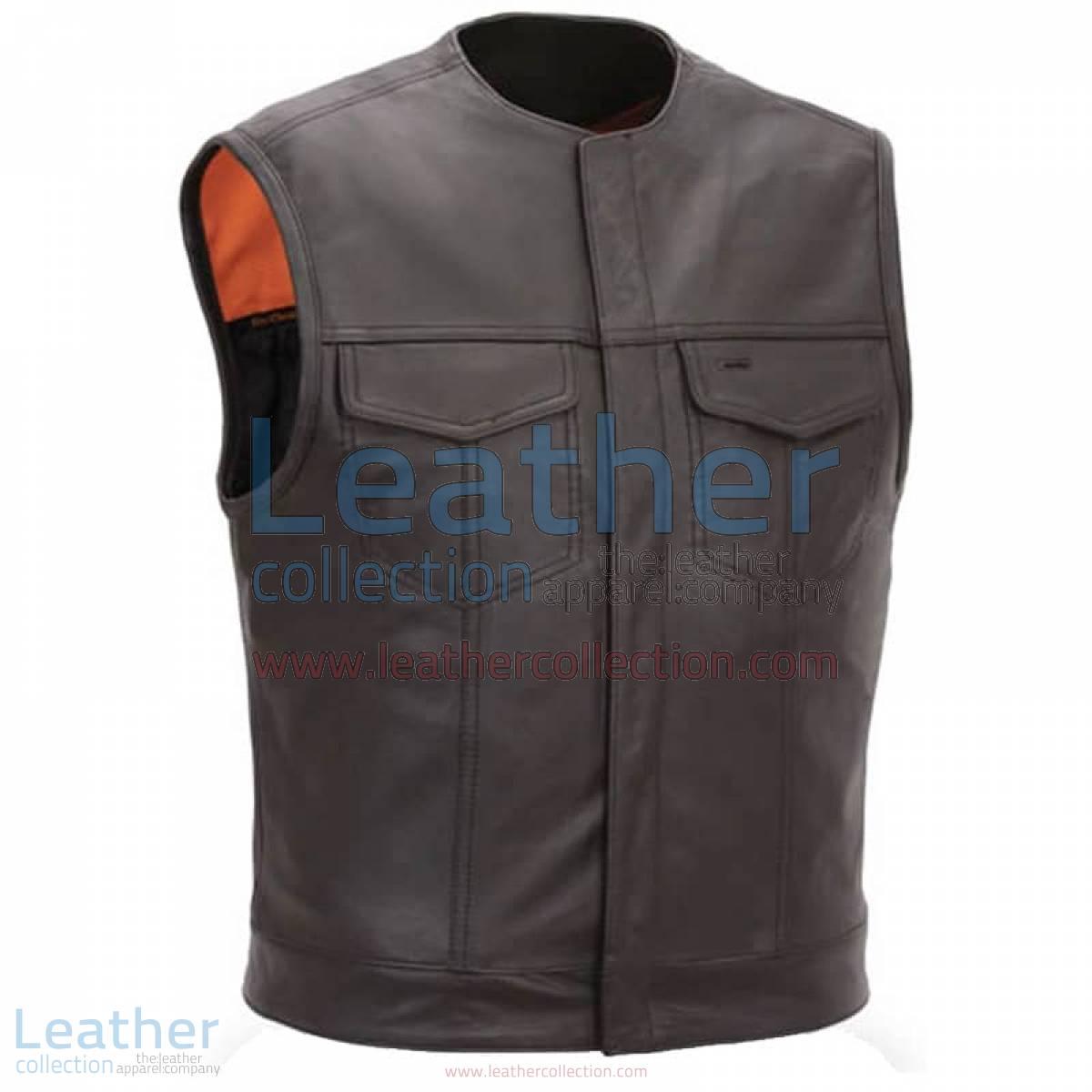 Men Leather Vest with Concealed Snap Front Closure | men leather vest