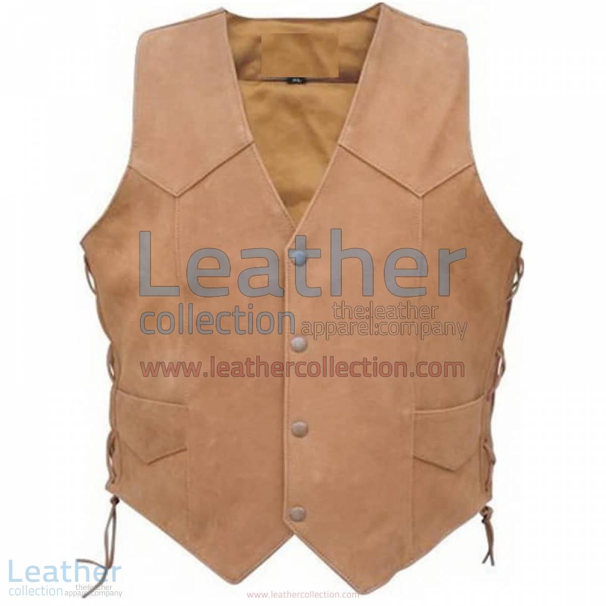 Men's Side Lace Gun Pocket Leather Vest | gun pocket vest