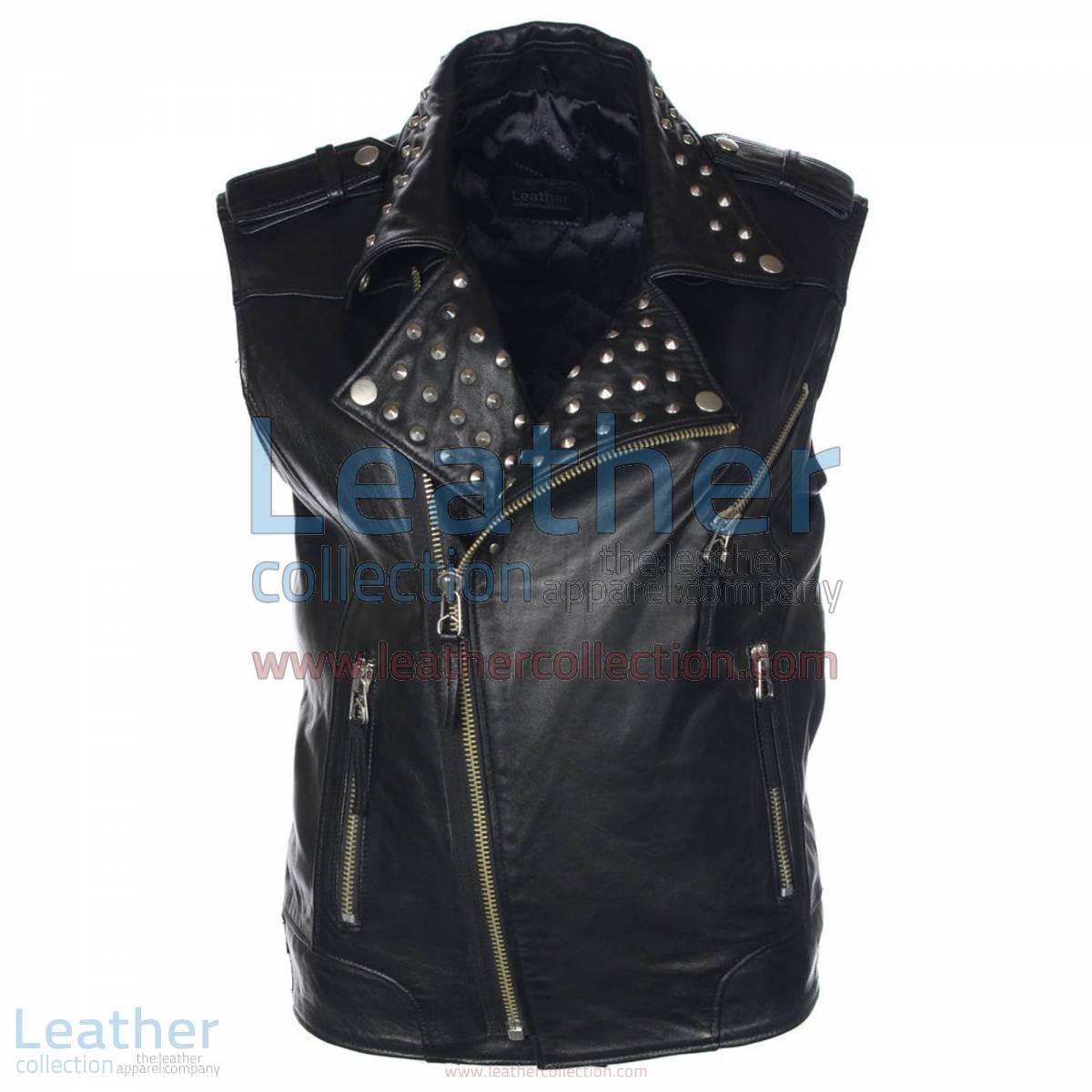 Men Studded Collar Biker Leather Vest | studded vest