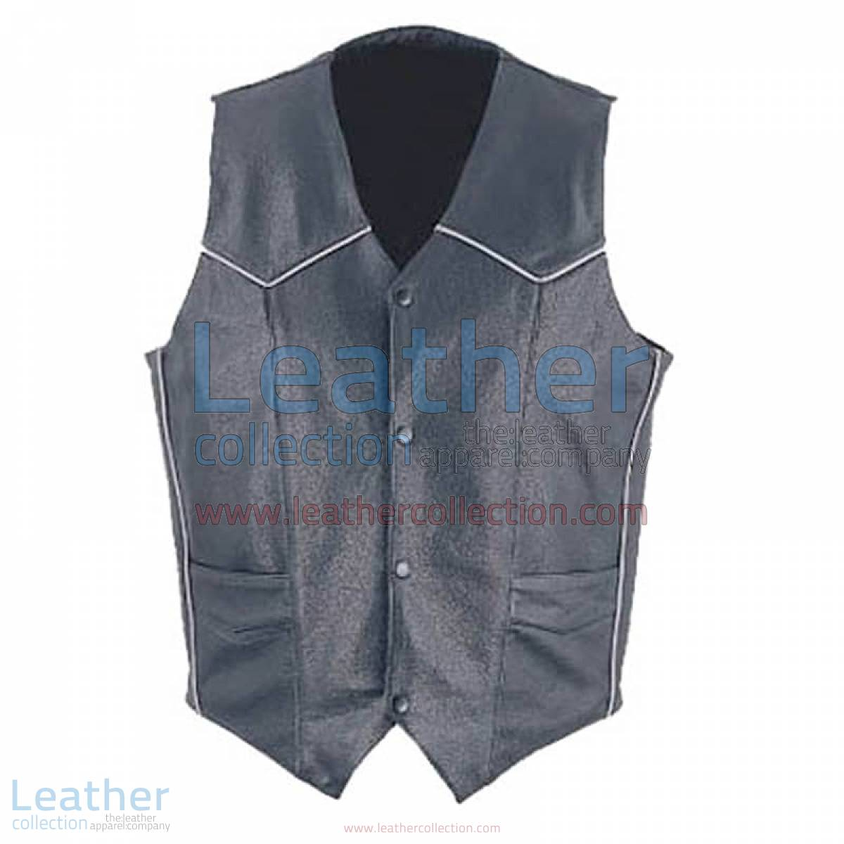Mens Classic Leather White Piping Vest | mens leather vest