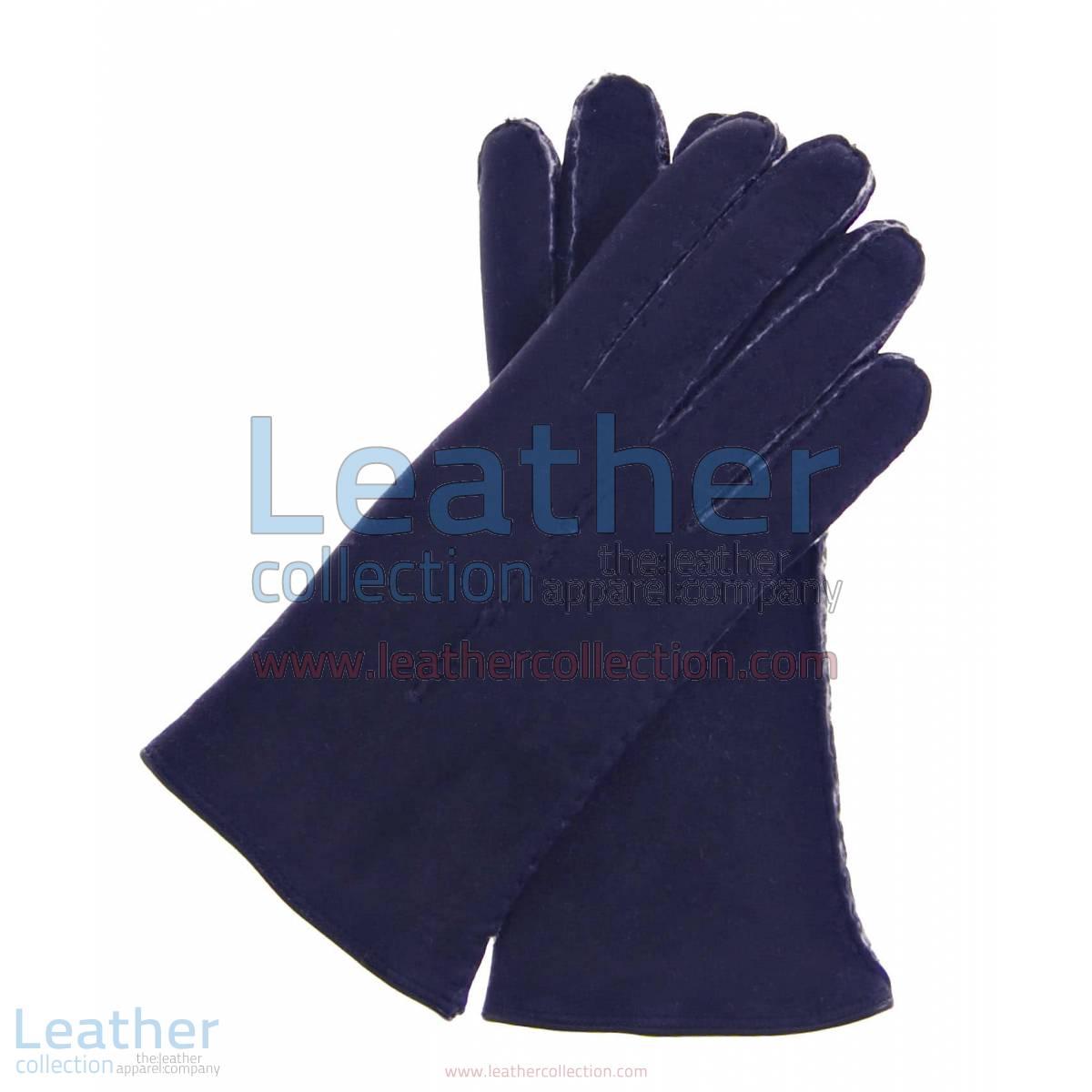 Navy Suede Lamb Shearling Gloves Ladies | Navy Suede Lamb Shearling Gloves Ladies