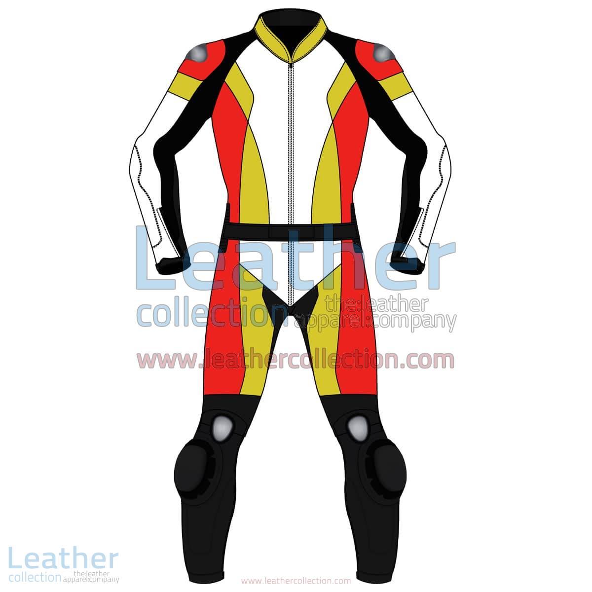 Quad Color Two-Piece Motorbike Leather Suit For Men | Quad Color Two-Piece motorcycle Leather Suit For Men