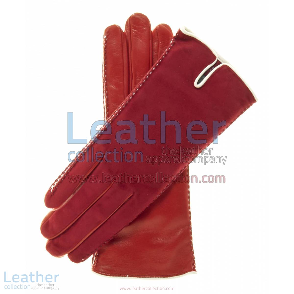 Red Suede Ladies Lambskin Gloves | red suede gloves