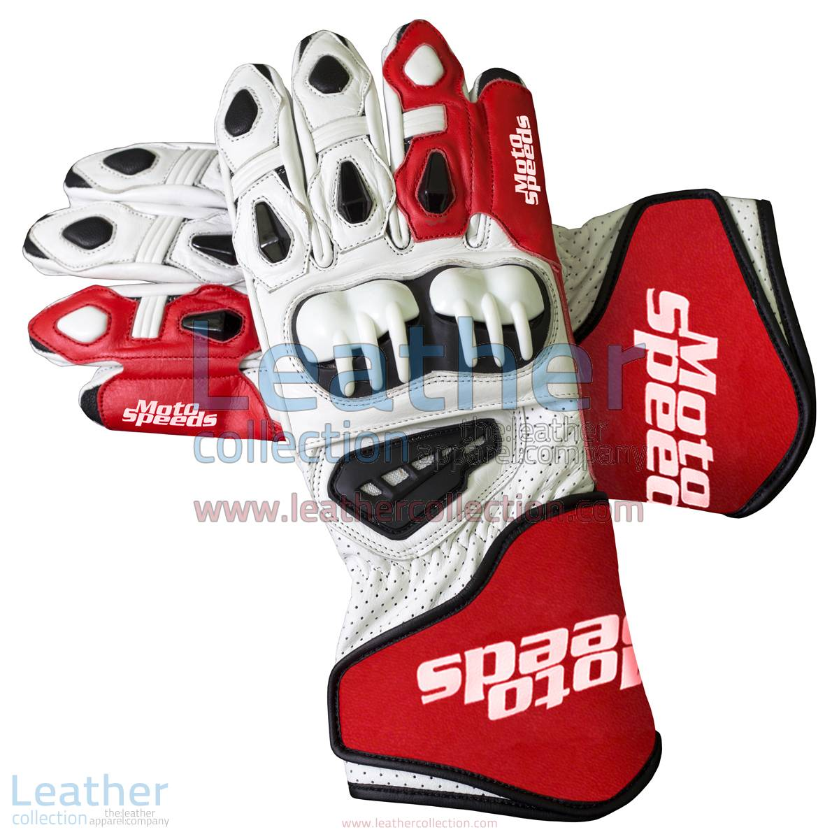 Red & White Leather Moto Gloves | leather moto gloves