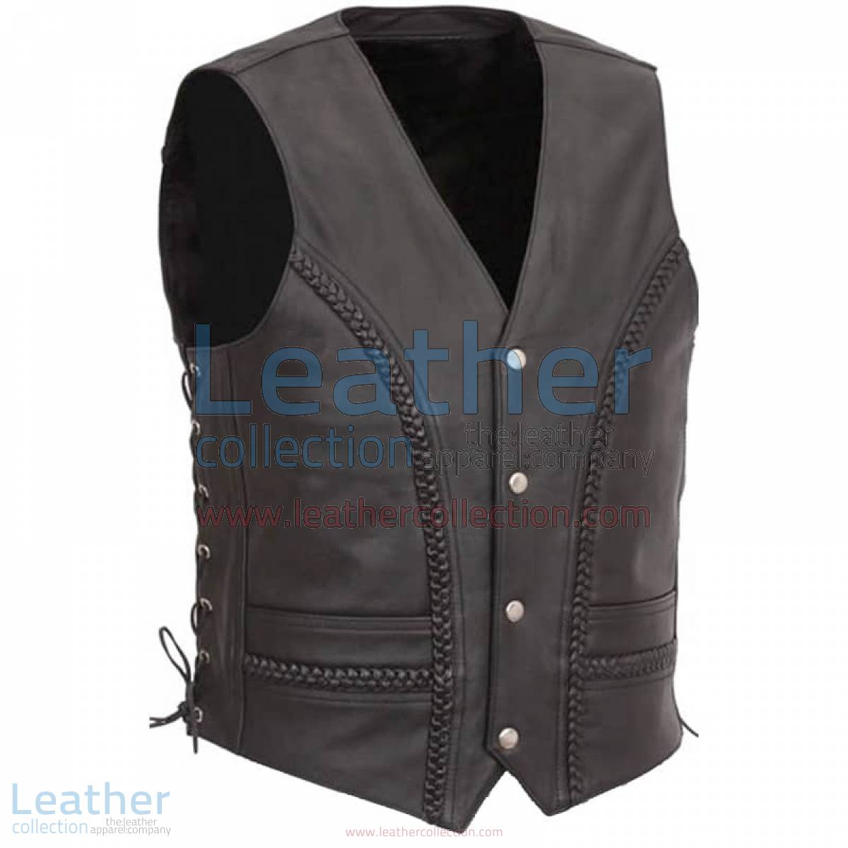 Side Lace & Braided Details Leather Vest   side lace leather vest