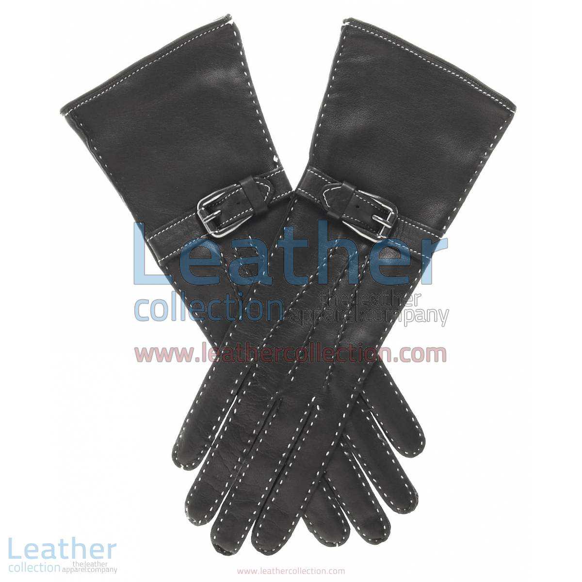Silk Lined Leather Gloves with Decorative Buckle | leather gloves