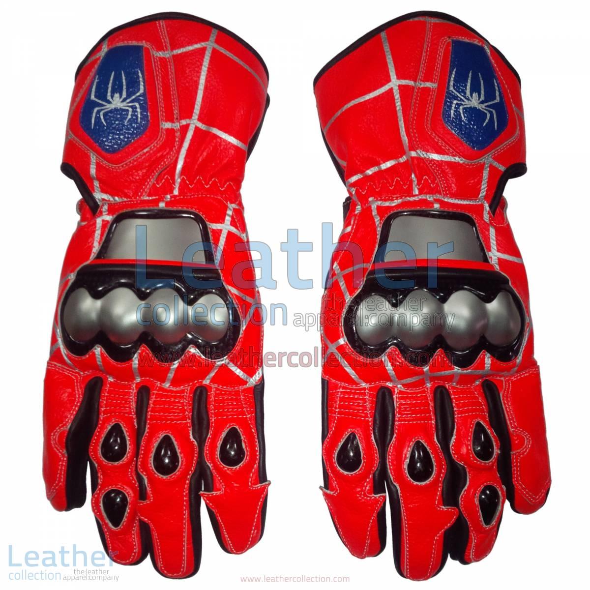 Spiderman Leather Motorbike Race Gloves | Spiderman leather motorcycle race gloves