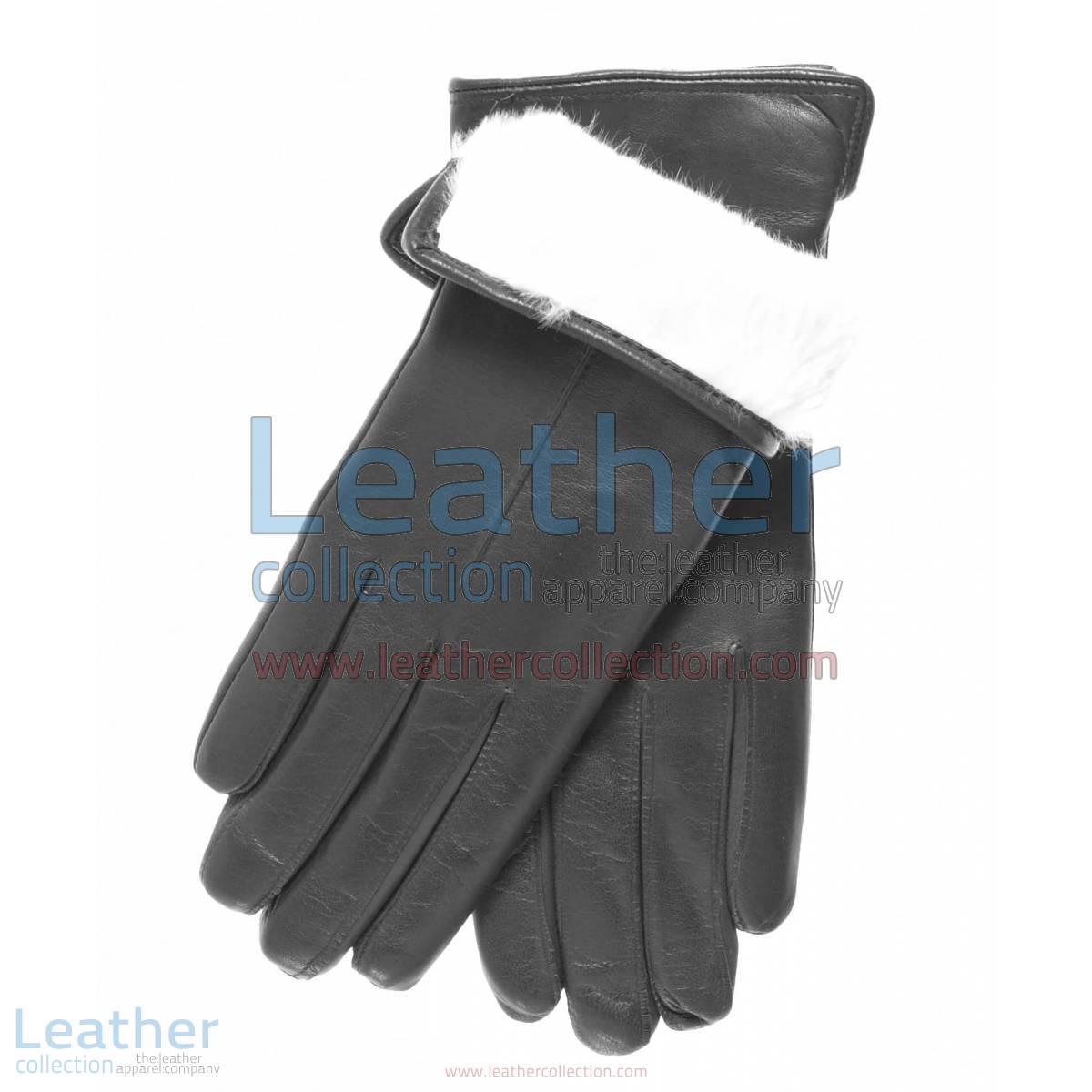 White Fur Lined Black Leather Gloves | fur lined gloves
