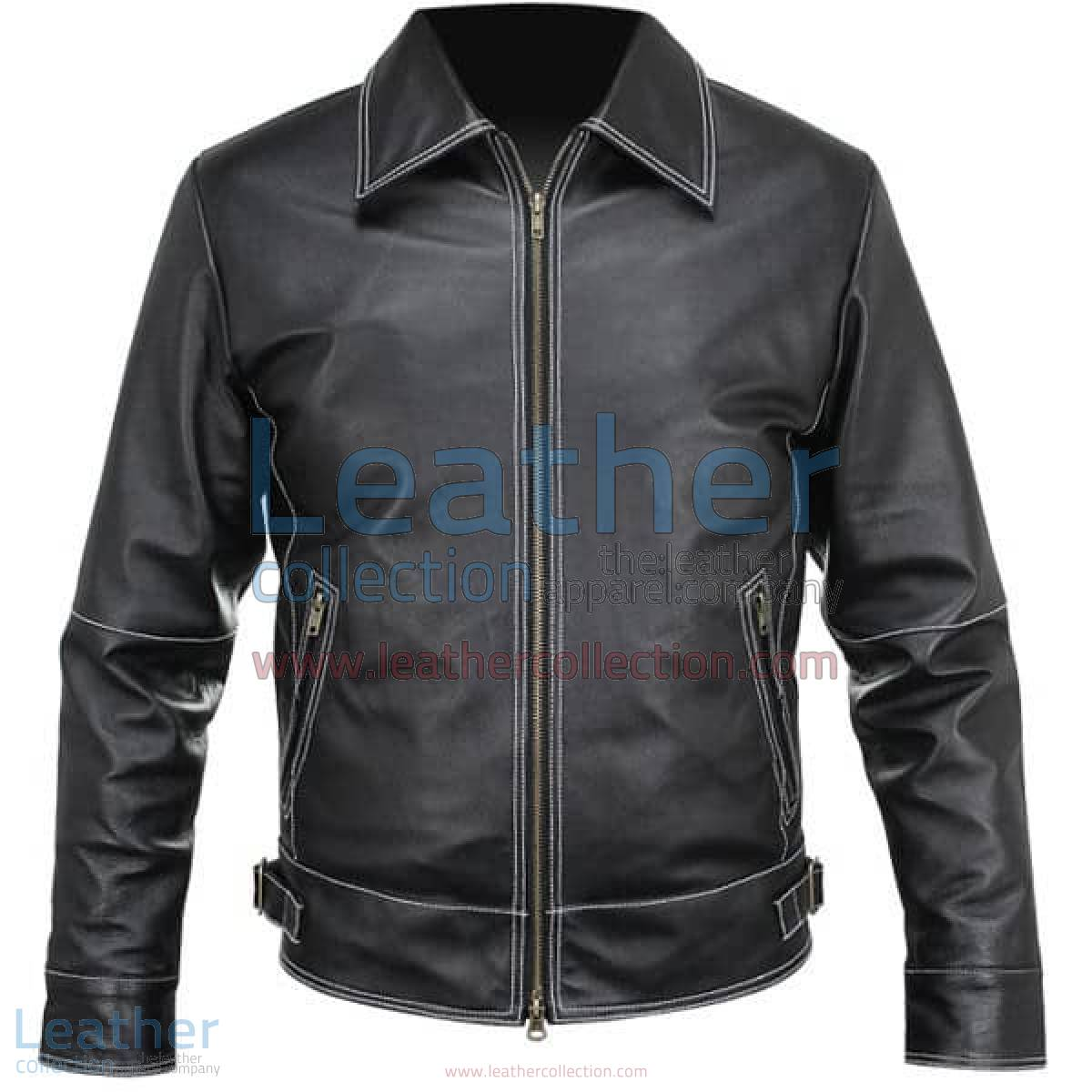 White Stitches Matte Leather Jacket For Men | leather jacket for men