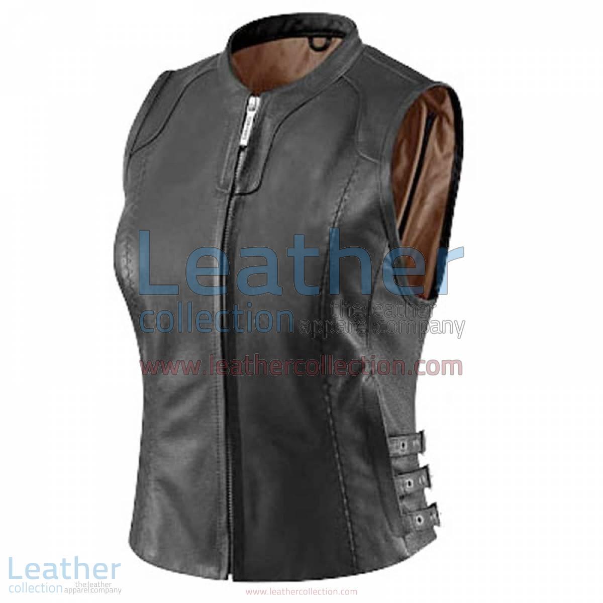 Women's Black Classic Leather Vest | black leather vest