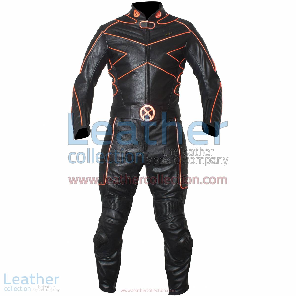 X-MEN Motorcycle Racing Leather Suit with Orange Piping | X-MEN suit