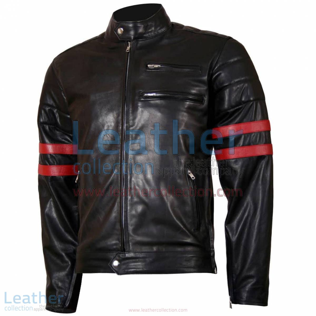 X-Men Wolverine Black with Red Strips Biker Leather Jacket   x-men jacket