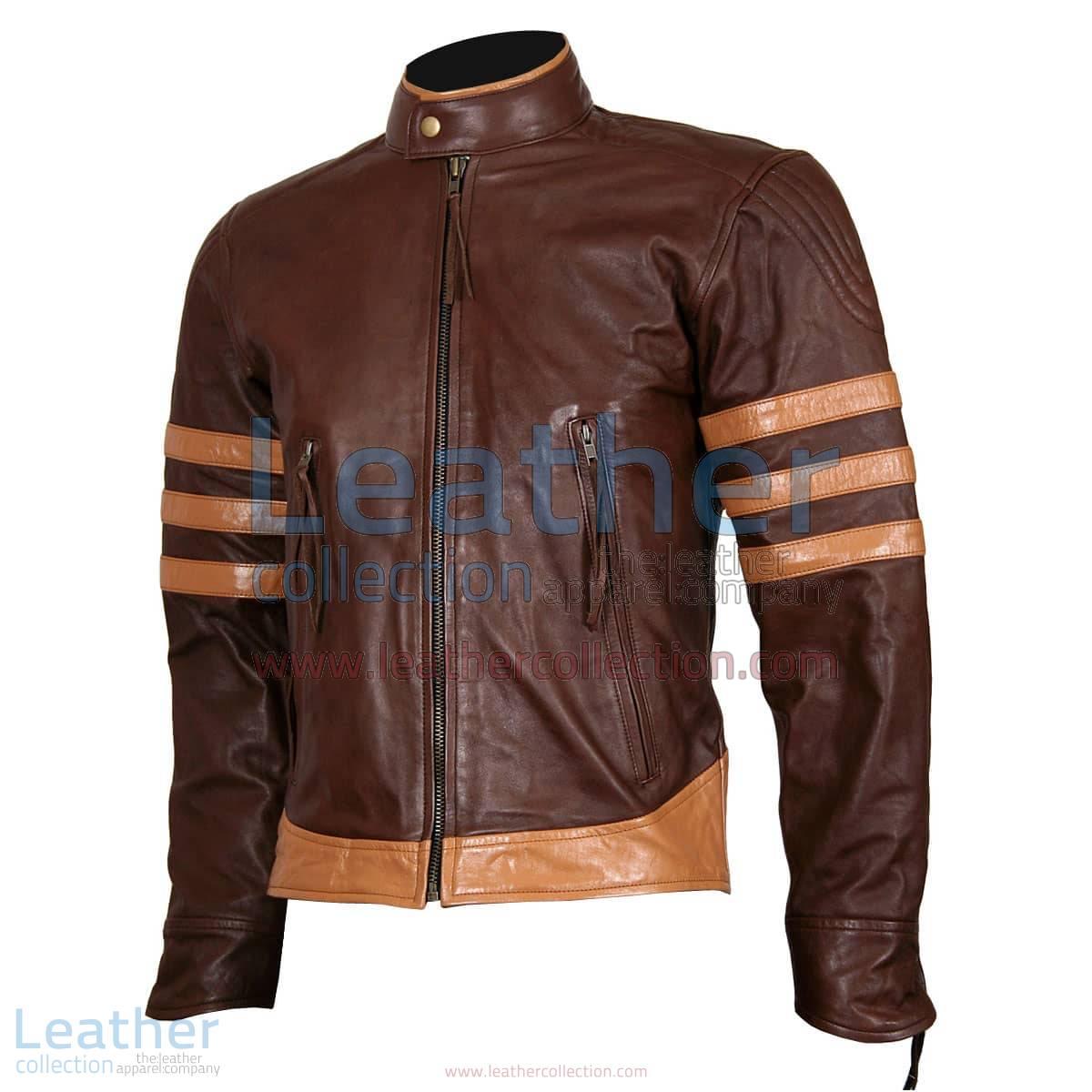 X-MEN Wolverine Origins Brown Biker Leather Jacket   x-men wolverine jacket