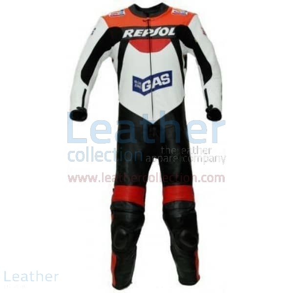 Repsol Gas Motorbike Racing Leather Suit front view