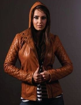 Leather Jacket Hoodie Womens - Womens Hooded Jacket - Leather Collection