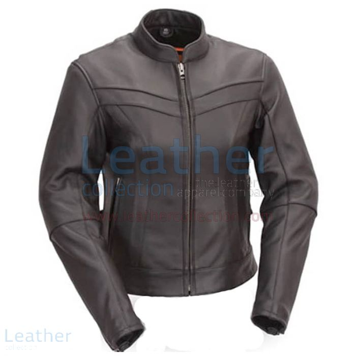 Motorcycle Touring Mandarin Collar Leather Jacket Front View