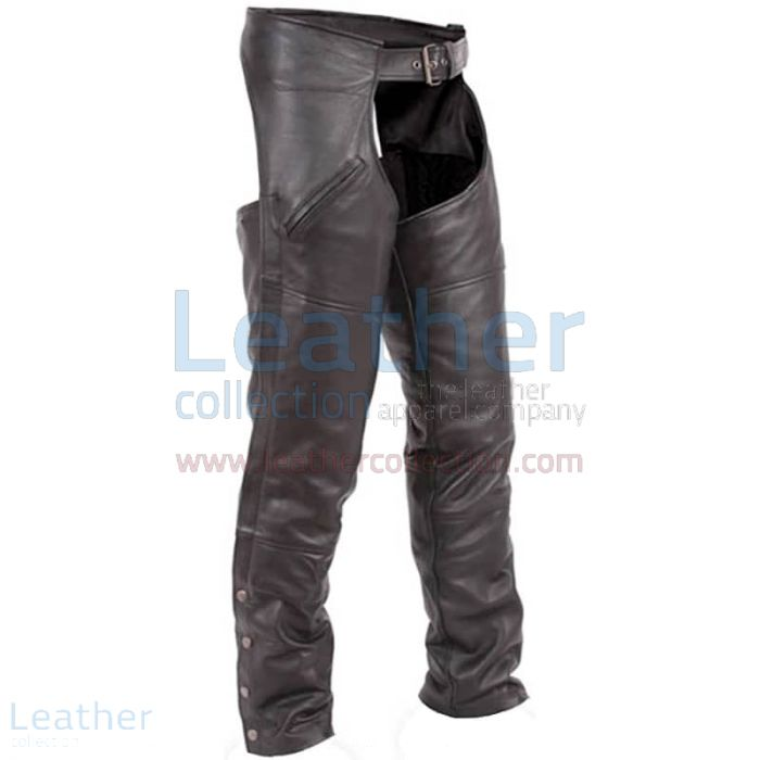 Premium Black Leather Chaps front