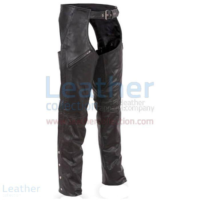 Premium Leather Biker Chaps front view