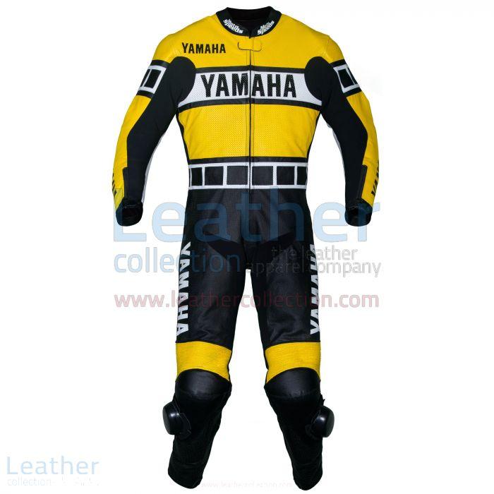 Yamaha Tuta in Pelle da Corsa Giallo vista frontale